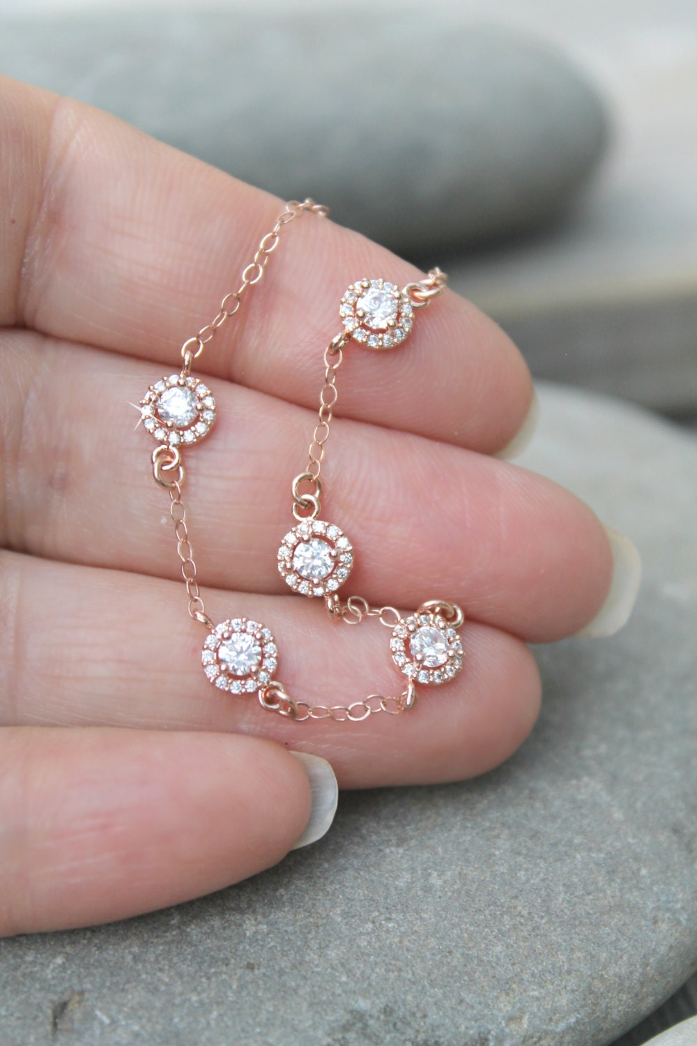 Diamond Anklet With Toe Ring Lc00035 In Anklets From: Dainty 14k Rose Gold Filled Bracelet With Cubic Zirconia