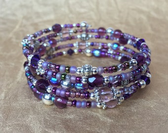 Purple and Silver Metal and Glass Bead Memory Wire Bracelet