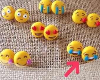 Emoticons earrings whatsapp stud studs polymer clay cute sweets kawaii handmade