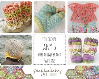Crochet Baby Clothes- Pattern Discounts- Choose ANY 3 patterns for one low price