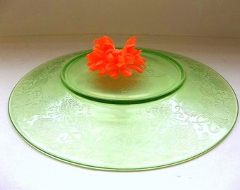 Vintage Hazel Atlas Florentine #2 dinner plate, Green depression glass plate Florentine Poppy, 1930's dinner plate, green glass dinnerware