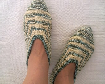Wool slippers women white green stripes melange hand knitted warm shoes home girl slippers