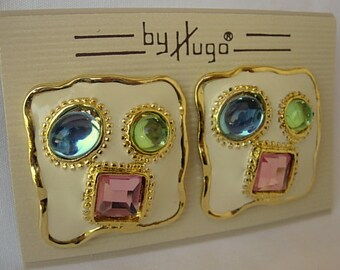 Hugo Enamel Earrings Vintage Cream Multi Color Pink Light Blue Lime Green Cabochons Glass Rhinestone Gold Tone Metal Clip On New Old Stock