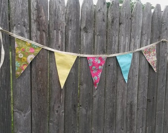 Green, Yellow, and Pink Fabric Pennant Banner