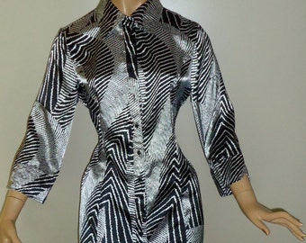 Shiny Black and White Abstract Zig Zag Print Blouse Vintage 1990s Style