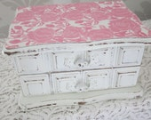 Antique Rose Jewelry Box, Refinished, Rose paper, Pink and White, Distressed