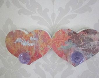 Boho Chic Jewelry Display, Necklace Hanger, Purple, Orange, Heart shaped