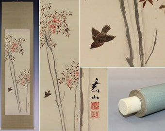 Japanese Fine Art Wall Hanging Scroll Bird and Flower Bird and heavenly Bamboo in the Snow. Kakejiku – 1505059