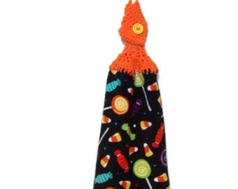 Halloween Candy  - Hanging Kitchen towel - Crochet top- Button top