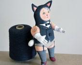 black cat cabaret - art doll - soft sculpture