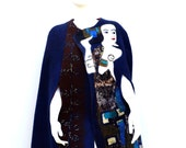 Gustav Klimt Navy Felted Cape