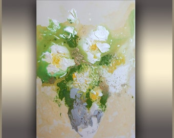 Floral Painting, White, Roses in vase Painting, Abstract, Flower Painting, ORIGINAL Abstract Art Painting, Acrylic Painting, Tatjana Ruzin