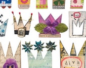 30+ Handmade CROWNS - Colorful Flowers, Buttons, Stars and More - Instant Printable Digital Collage Sheet