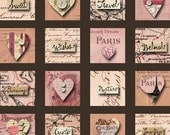 48 INCHIES with HEARTS & SWEET Words in Calligraphy - Pink, Tan and Cream - Vintage Style- Instant Printable Digital Collage Sheet