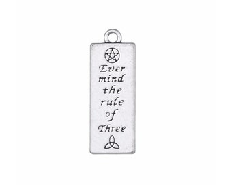 Ever Mind the Rule of Three Pendant Slightly Distressed Silver Tone Wicca 30x11mm