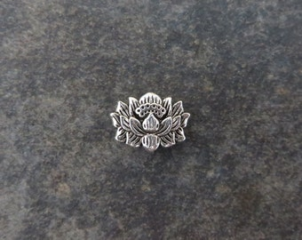 50 Lotus Flower Spacer Beads Lovely Detailed Atq Silver Tone Serene Double Sided Beading Jewelry Bulk Listing 9x13 mm