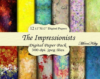 "Instant Download - Digital Scrapbook Paper - The Impressionists - MK114 - 12 12""x12"" Digital Paper - Collage Sheets - Scrapbooking Paper"