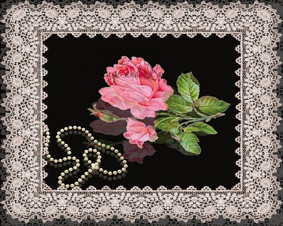 Items similar to Wall Art: Pink Rose, Pearls with Lace ...