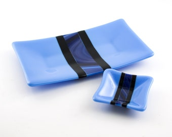 Men's Valet Tray, Coin Dish, Dresser Set, Jewelry Holder, Black and Blue , Fused Glass, Vanity Set, Master Bedroom Decor, Cool Gifts for Men