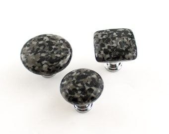 Black Cabinet Knobs, Drawer Handles, Dresser Drawer Pulls, Unique Kitchen Decor, Furniture Knobs, Cabinet Hardware, Fused Glass Knobs