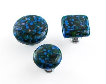 Blue Glass Knobs, Unique Drawer Pulls, Modern Door Hardware, Cabinet Door Handles, Furniture Knobs, Blue and Green, Choice of Hardware