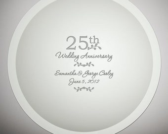 Engraved 25th Anniversary Jade Glass Plate