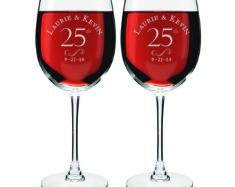 Engraved 25th Anniversary Wine Glasses