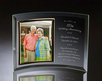 Engraved 50th Anniversary Glass Photo Frame