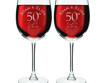 Engraved 50th Anniversary Wine Glasses
