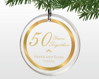Engraved 50th Wedding Gold Anniversary Ornament
