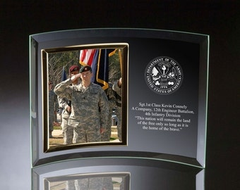 Engraved Army Curved Glass Photo Frame