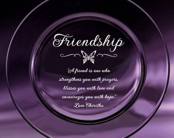 Engraved Crystal Friendship Plate