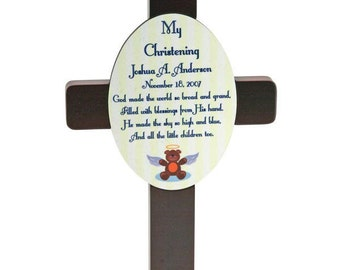 Personalized Christening Cross and Plaque