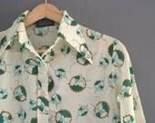70s Art deco Design Shirt XS
