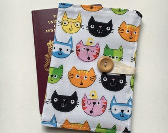 Passport cover case cute cat fabric wooden button