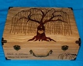 Decorative Rustic Wooden Wedding Keepsake Box Wood Burned Suitcase Favor Box Willow Tree Guest Book Box Wedding Tree Card Box Love Owls Gift