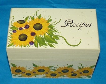 Wedding Recipe Box, Sunflowers Recipe Box, Decorative Wood Recipe Box, Victorian Recipe Box, Personalized, Custom, Painted