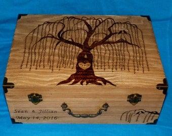 Decorative Rustic Wooden Wedding Keepsake Box Wood Burned Suitcase Favor Box Willow Tree Guest Book Box Wedding Tree Card Box Love Owls Gift
