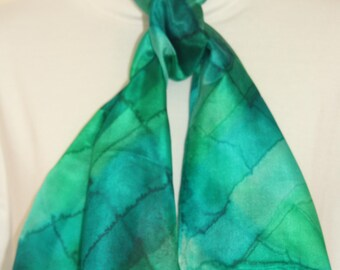 Hand Dyed Green Tartan Long Silk Scarf