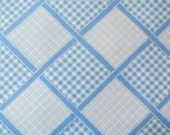 Half Yard of Vintage Sheet Fabric - Blue Gingham Plaid