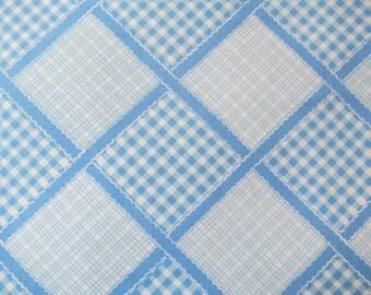Half Yard of Vintage Sheet Fabric - Blue Gingham Plaid - 1/2 yd