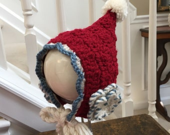 Crocheted Baby hat - Pixie Style Red - 0 to 6 months  - Baby Gift  - Holiday Hat