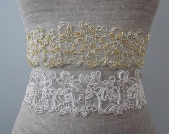 Floral Embroidered Beaded Wedding Sash / Belt, Gold or Silver Lace Bridal Sash