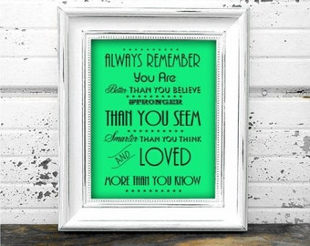 Always Remember A4 Poster - Instant Download Digital Typography Print