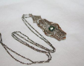 Art Deco Filigree Pendant Necklace, Emerald Filigree Pendant Jewelry, 1920 Pendant Necklace