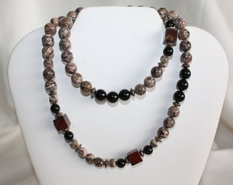 Vintage Jasper Necklace Natural  Bead Stone 1970s Jewelry