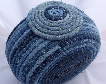 Upcycled Denim Coiled Fabric Basket - Large Storage Basket - Pacific Opal Swarovski Crystal Accents
