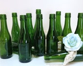 Lil Green Bottle Collection without Caps, Bottle lot of 12, Green Bottle Vases, DIY Wedding Party Bar-B-Q Tabletop Décor, Trending Craft