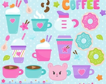 80% OFF - INSTANT DOWNLOAD, coffee clipart and vectors for personal and commercial use