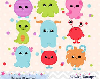 INSTANT DOWNLOAD, kawaii monster clipart and vectors for personal and commercial use